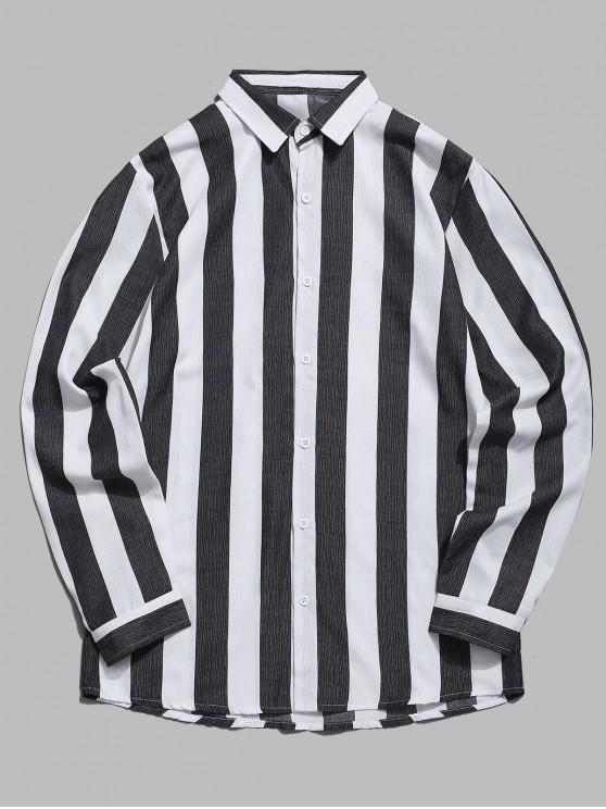 Camisa Casual Listrada com Contraste Vertical - Preto 2XL
