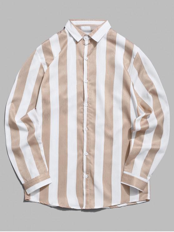latest Vertical Contrast Striped Casual Shirt - KHAKI 2XL