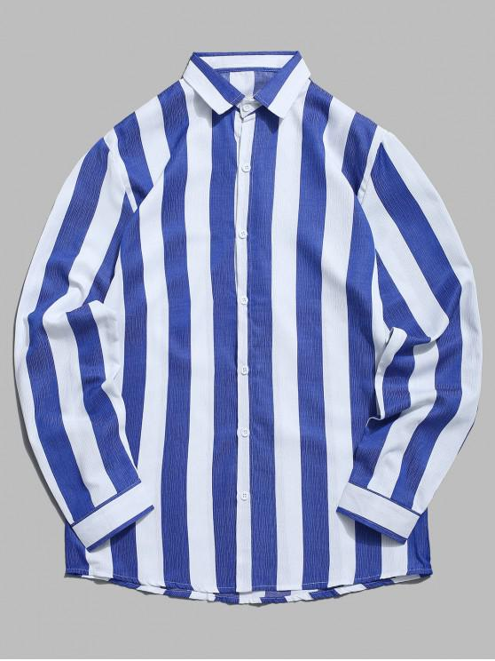 fancy Vertical Contrast Striped Casual Shirt - CADETBLUE 2XL