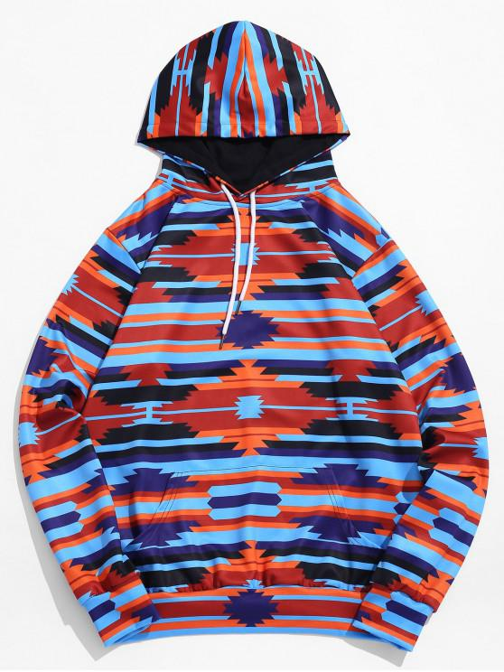 fancy Contrast Geometric Print Pocket Pullover Hoodie - DEEP BLUE XL