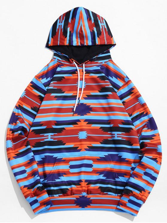Felpa Pullover Stampata Geometrica A Contrasto Con Cappuccio E Tasca - Profondo blu 2XL