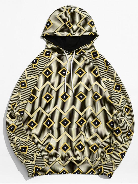 women's Geometric Stripe Printed Pouch Pocket Hoodie - GOLDENROD 3XL