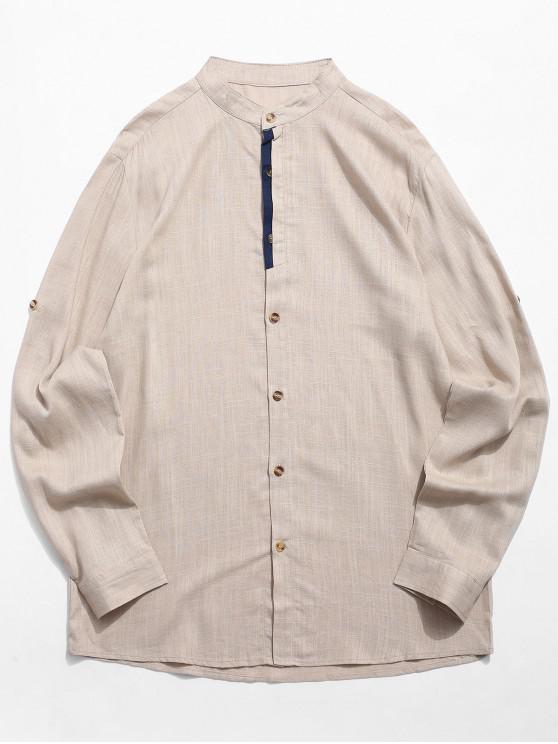 Camicia A Contrasto Con Maniche Lunghe - Cachi 2XL