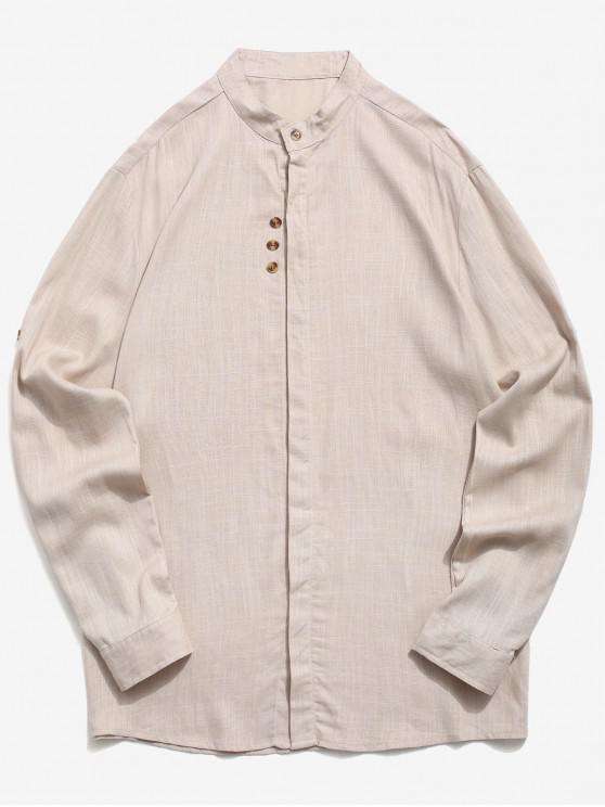fancy Stand Collar Sleeve Roll Up Casual Shirt - KHAKI XL