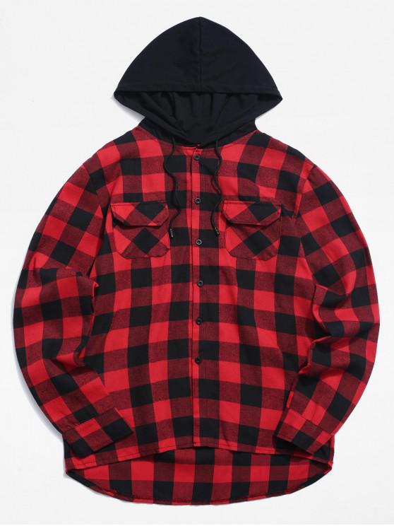 Camicia A Quadretti Con Cappuccio E Tasche - Rosso M