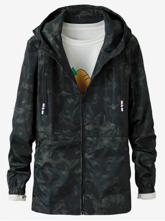 lady Camo Printed Zipper Jacket - GREEN M