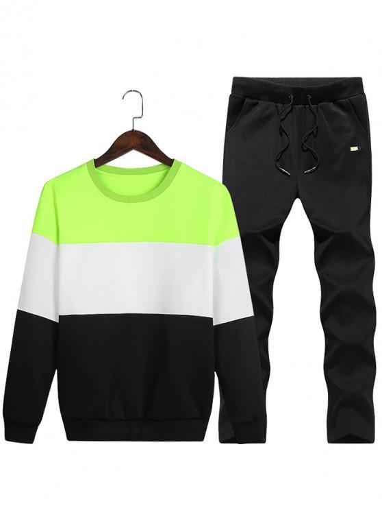 affordable Layered Colorblock Fleece Sweatshirt Pants Sports Suit - GREEN YELLOW S