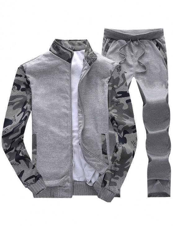 shops Camo Mesh Print Fleece Jacket Pants Sports Suit - DARK GRAY S