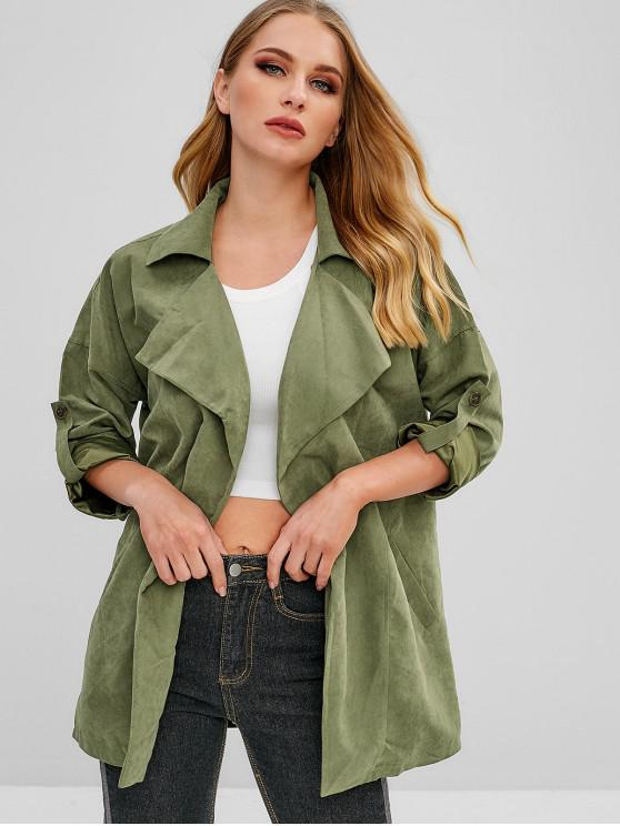 online Welt Pockets Lapel Open Front Coat - ARMY GREEN M