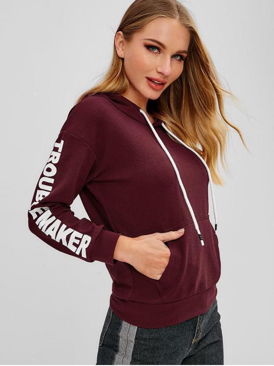trendy Graphic Kangaroo Pocket Hoodie - RED WINE M