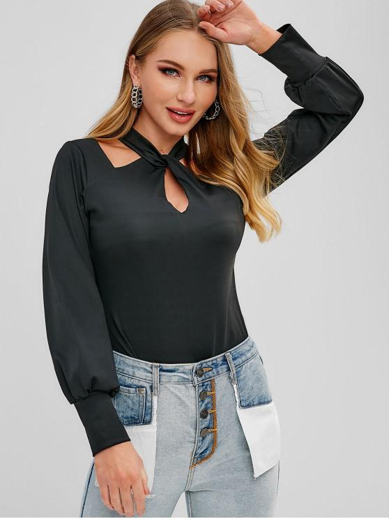 lady Criss Cross Cut Out Twist Top - BLACK XL