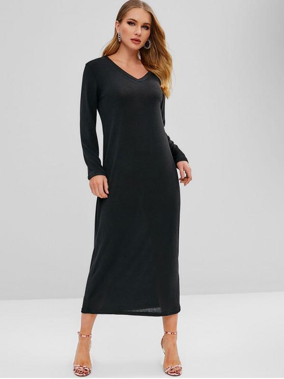 V-Ausschnitt, langärmliges Kleid - Schwarz S