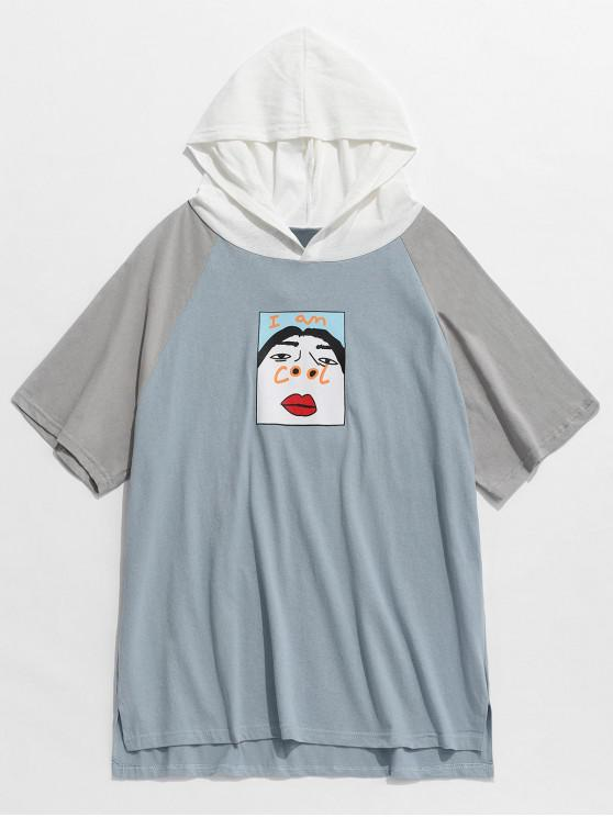 1b0b268cb43 28% OFF  2019 Funny Graphic Colorblock Short Sleeve Hooded Tee In ...