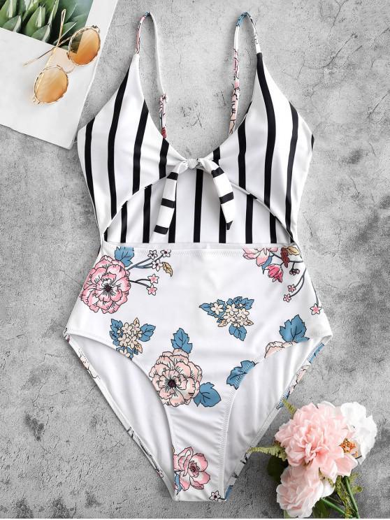 lady ZAFUL Floral Striped Knot High Cut Swimsuit - MULTI S