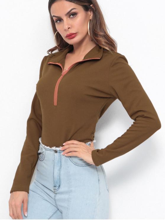 fashion Half Zip Ribbed Long Sleeve Top - COFFEE M