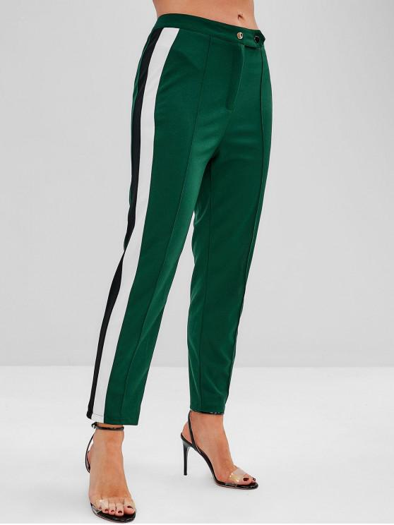 sale ZAFUL High Waisted Stripes Panel Straight Pants - MEDIUM FOREST GREEN M