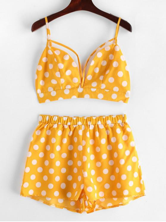 28da32824136bb 44% OFF  2019 ZAFUL Backless Polka Dot Top And Shorts Set In BEE ...