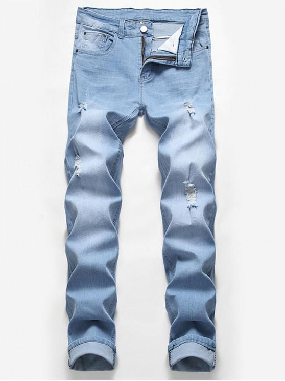 ladies Casual Zipper Fly Ripped Jeans - LIGHT BLUE 36