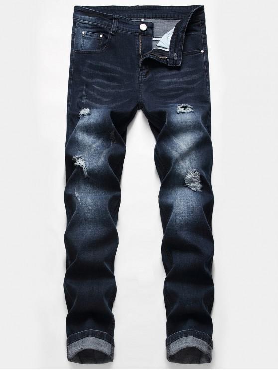 Lässige Zipper Fly Zerrissene Jeans - Dunkelblau 36