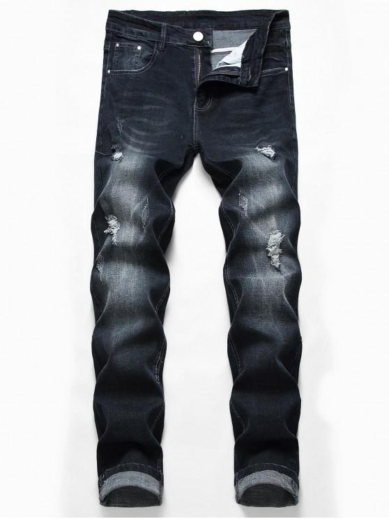 Lässige Zipper Fly Zerrissene Jeans - Schwarz 32