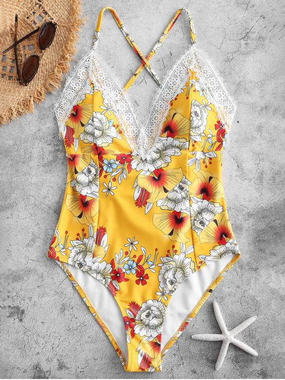 chic ZAFUL Laced Crisscross Floral Swimsuit - SUN YELLOW XL