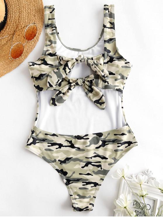 womens ZAFUL Knot Back Camo Thong Swimsuit - MULTI XL
