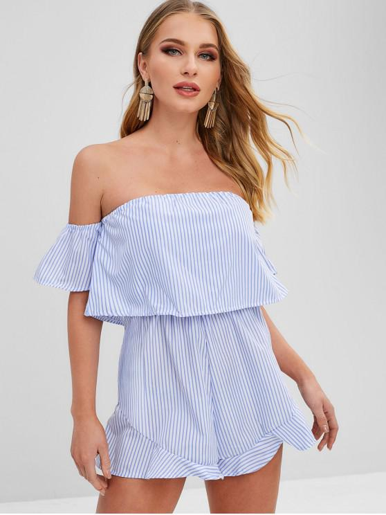 lady Ruffle Overlay Striped Off The Shoulder Romper - MULTI M