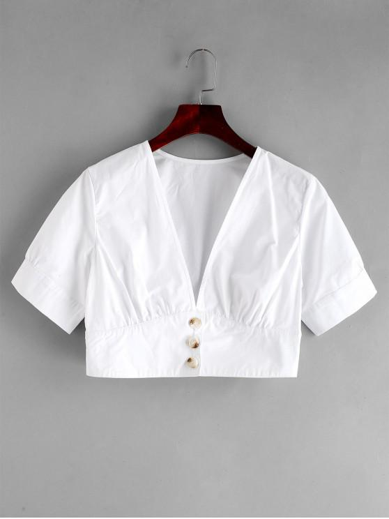 trendy ZAFUL Button Up Plunging Crop Blouse - WHITE S
