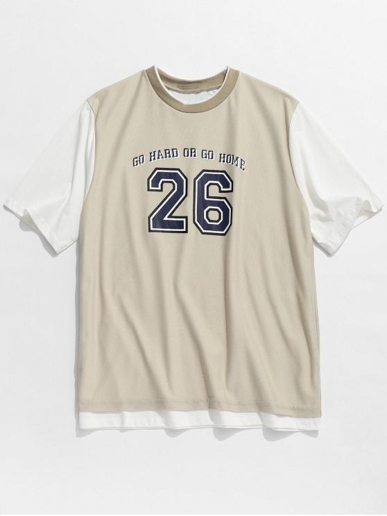Zahl-Buchstabe-Maschen-Spleißen Sport-T-Shirt - Helles Khaki S
