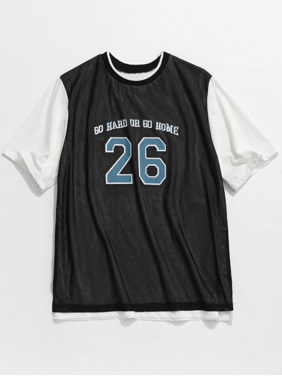 T-shirt sportiva con cucitura a maglia in lettere - Nero XS