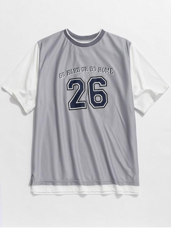 online Number Letter Mesh Splicing Sports T-shirt - GRAY M