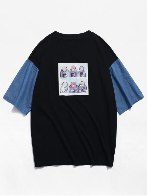 T-shirt gráfico engraçado do bloco da cor - Preto M
