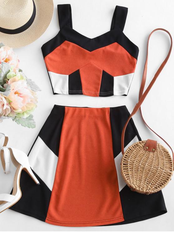 ZAFUL Crop Color Block-Oberteil und Rock-Set - Papaya Orange S