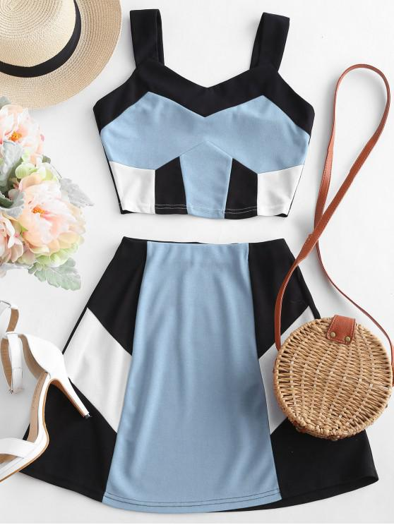 trendy ZAFUL Crop Color Block Top and Skirt Set - BLUE GRAY L