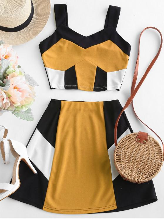 buy ZAFUL Crop Color Block Top and Skirt Set - BEE YELLOW M
