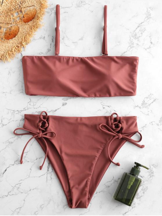 online ZAFUL Lace-up Side Boning Bandeau Bikini - ROSY FINCH M