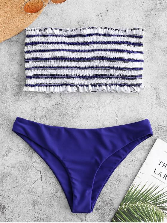 ladies ZAFUL Stripe Smocked Bandeau Bikini Set - COBALT BLUE M