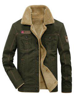 Fluffy Lined Stitch Jacket - Army Green Xl