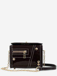 Chain Zipper Decoration Square Cross Body Bag - Red Wine