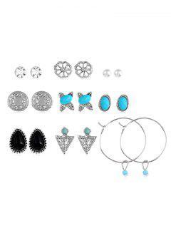 Bohemia Faux Turquoise Rhinestone Hoop Stud Earrings Set - Plata
