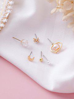 Rhinestone Design Stud Earrings Set - Gold