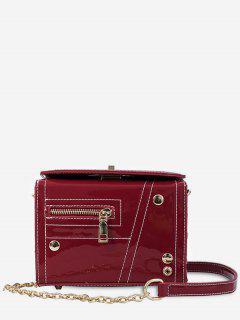 Chain Zipper Decoration Square Cross Body Bag - Rojo