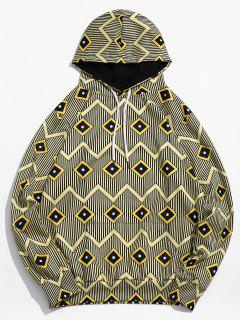 Geometric Stripe Printed Pouch Pocket Hoodie - Goldenrod L