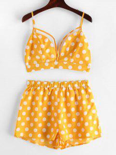 ZAFUL Backless Polka Dot Top And Shorts Set - Bee Yellow L