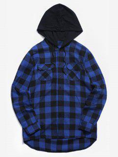 Bolsillos En El Pecho Con Capucha Camisa A Cuadros - Azul De Arándanos 2xl