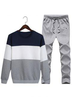 Superposition De Pantalons De Survêtement En Polaire Colorblock - Bleu Profond L