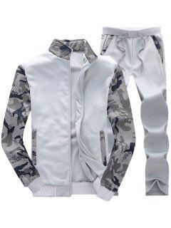 Camo Mesh Print Fleece Jacket Pants Sports Suit - Light Gray Xs
