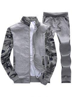 Camo Mesh Print Fleece Jacket Pants Sports Suit - Dark Gray M