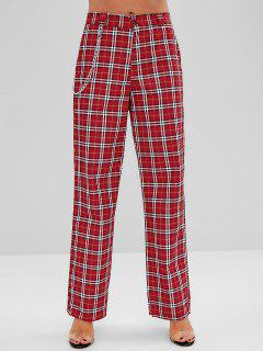 Chain Embellished Plaid Wide Leg Pants - Red M