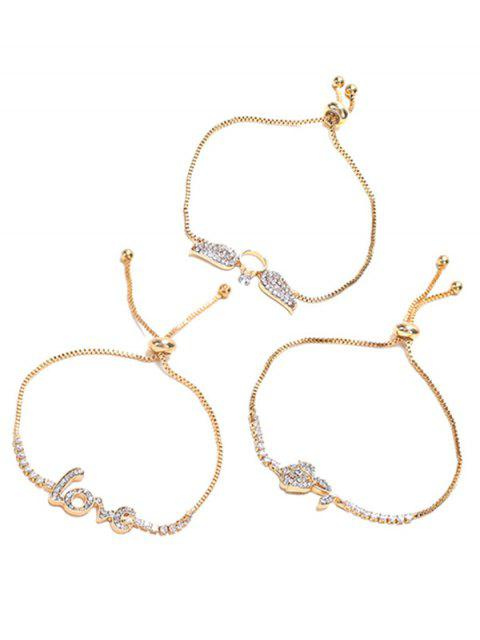 buy Rhinestone Inlaid Alloy Bracelets Set - GOLD  Mobile